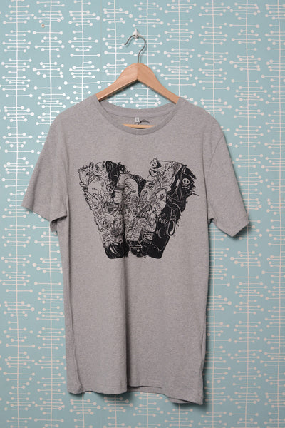 W Baseball Urban Brushed T-Shirt melange grey (Nychos)