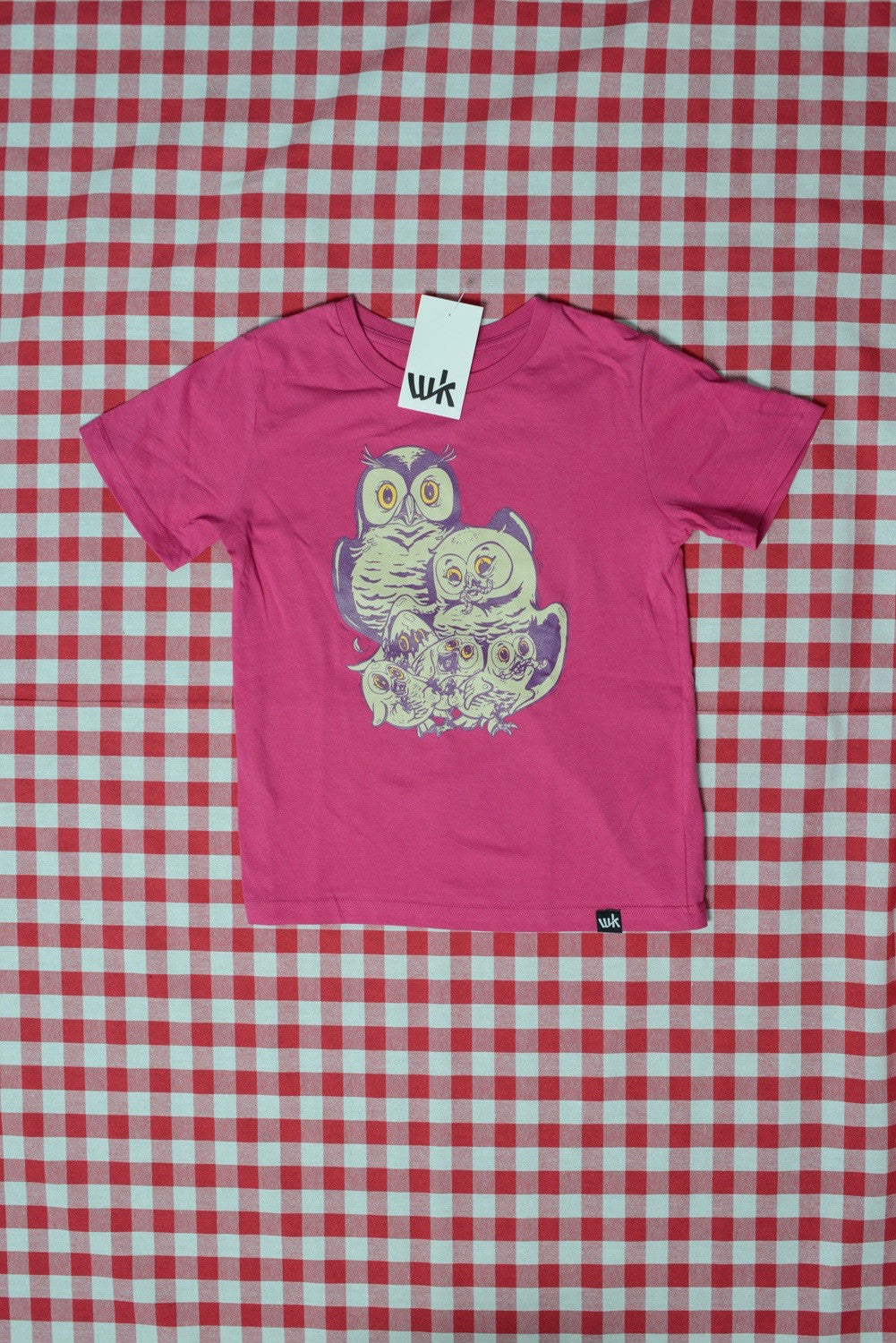 Familie Eule Kids T-Shirt hot pink (by Nychos)