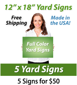 """Girl holding a sign saying """"Full Color Yard Signs"""" """"12"""" x 18"""" Yard Signs, Free Shipping, Full Color Signs, 5 Signs for $50"""""""