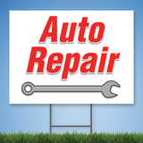 Coroplast Yard Sign with red text 'Auto Repair' with picture of a wrench