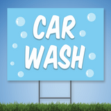 Coroplast Yard Sign saying 'CAR WASH' in white text with bubbles on blue background with sign stake