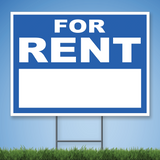 Coroplast Yard Sign with white text 'FOR RENT' on blue background