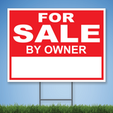 Coroplast Yard Sign with white text 'FOR SALE BY OWNER' on red background