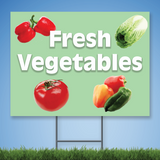 Coroplast Yard Sign with white text 'Fresh Vegetables' with pictures of vegetables on green background