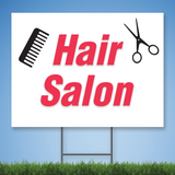 Coroplast Yard Sign with red text 'Hair Salon' with picture of comb and scissors