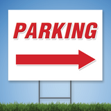 Coroplast Yard Sign with red text 'PARKING' with right arrow