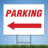 Coroplast Yard Sign with red text 'PARKING' with Left arrow