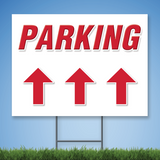 Coroplast Yard Sign with red text 'PARKING' with straight arrow