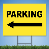 18 x 24 Coroplast Yard Sign with black text 'PARKING' w/ left arrow on yellow background