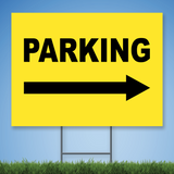 18 x 24 Coroplast Yard Sign with black text 'PARKING' w/ right arrow on yellow background