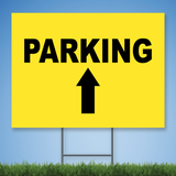 18 x 24 Coroplast Yard Sign with black text 'PARKING' w/ straight arrow on yellow background