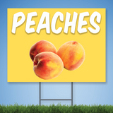 Coroplast Yard Sign with white text 'PEACHES' with picture of peaches on yellow background