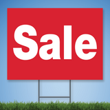 18 x 24 Coroplast Yard Sign with white text 'Sale' on red background
