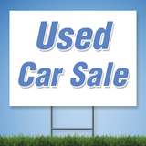 Coroplast Yard Sign with blue text 'Used Car Sale'