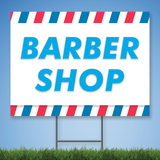 Coroplast Yard Sign with blue text 'BARBER SHOP'