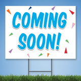 18 x 24 Coroplast Yard Sign with blue text 'COMING SOON' with confetti