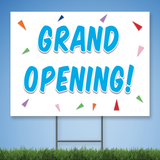 18 x 24 Coroplast Yard Sign with blue text 'GRAND OPENING' with confetti