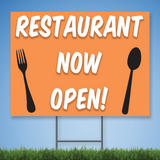 Coroplast Yard Sign with white text 'RESTAURANT NOW OPEN' with image of fork and spoon on orange background