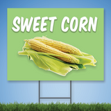 Coroplast Yard Sign with white text 'SWEET CORN' with picture on corn on green background