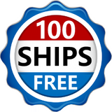 "Red, white and blue logo saying ""100 Ships Free"""