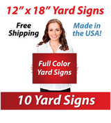 "Girl holding a sign saying ""Full Color Signs"" ""12"" x 18"" yard signs, free shipping, made in the usa"""