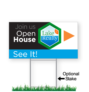 corrugated directional sign with optional stake stating 'Lake Realty Open House'