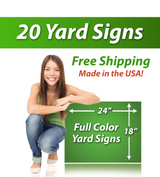 "Girl next to a sign saying ""20 Yard Signs, Free Shipping, Full Color Signs"""