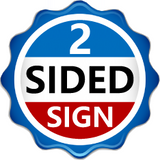 "Red, white and blue logo saying ""2 Sided Sign"""