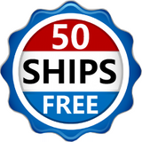 "Red, white and blue logo saying ""50 Ships Free"""