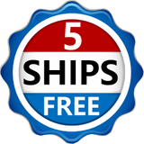 "Red, white and blue logo saying ""5 Ships Free"""