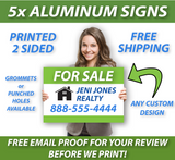 "Woman holding an 18"" x 24"" real estate sign. Saying ""5x Aluminum Signs, Free Shipping, Free Email Proof"""