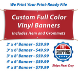 "Banner held up with 4 strings saying ""custom full color vinyl banners, Included hem and grommets. Free shipping and various sizes"""