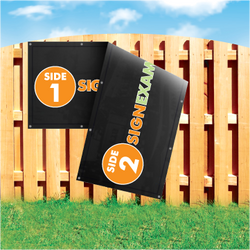 Wood fence displaying a banner saying 'Side 1 Side 2 Sign Example' on colorful background