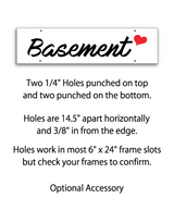Sign rider with 4 holes saying 'BASEMENT' in black print