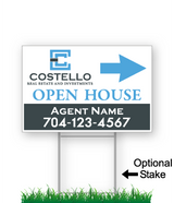 corrugated directional sign with optional stake stating 'costello real estate'