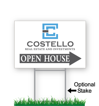 corrugated directional sign with optional stake stating 'Costello real estate open house'