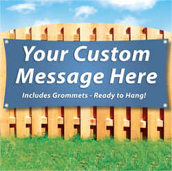 Wood fence displaying a banner saying 'Your Custom Message Here' on colorful background