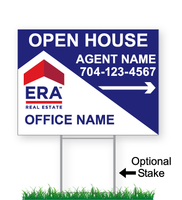 corrugated directional sign with optional stake stating 'ERA real estate'