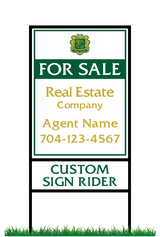 "24"" x 18"" Emerald Cove neighborhood sign & Frame saying ""For Sale, Real Estate Company, Agent & Phone #"" with sign rider saying ""custom sign rider"""