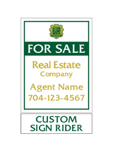 "24"" x 18"" Emerald Cove neighborhood sign panel saying ""For Sale, Real Estate Company, Agent & Phone #"" with sign rider saying ""custom sign rider"""