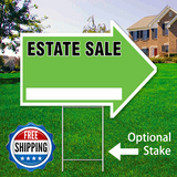 "17"" x 23"" green arrow shaped sign saying ' ESTATE SALE' with optional stake and Free Shipping Logo"