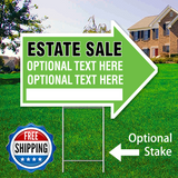"17"" x 23"" green arrow shaped sign saying ' ESTATE SALE' 'Optional Text' Free Shipping"
