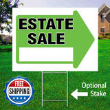 "18"" x 24"" yard sign with green arrow saying ""Estate Sale"" with optional sign stake and logo saying ""Free Shipping"""