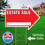 "17"" x 23"" red arrow shaped sign saying ' ESTATE SALE' with optional stake and Free Shipping Logo"