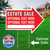 "17"" x 23"" red arrow shaped sign saying ' ESTATE SALE' 'Optional Text' Free Shipping"
