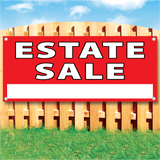 "Wood fence displaying a red vinyl banner saying ""Estate Sale"""