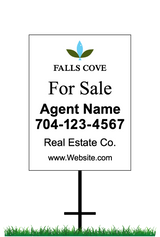 "24"" x 18"" neighborhood sign saying ""Falls Cove, For Sale, Real Estate Company, Agent & Phone #"""