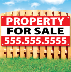 Wood fence displaying a banner saying 'property' in white text on a red background and 'FOR SALE' in black Text on White Background