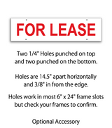 "Sign rider with 4 holes saying ""FOR LEASE"" in red print"