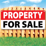 Wood fence displaying a banner saying 'PROPERTY SPACE' in white text on a red background and 'FOR SALE' in black Text on White Background